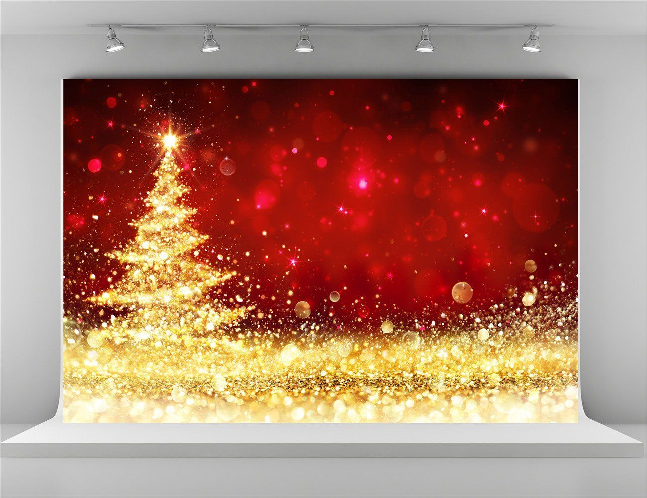 Seamless/Photography Background/Paper 7x5 Black Brick Wall Gold Xmas Ball with Glitter Christmas Tree Backdrops for Christmas Pictures