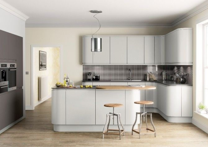 Light Grey Matt Kitchen In A Modern Uncluttered Slab Style - Dark grey matt kitchen