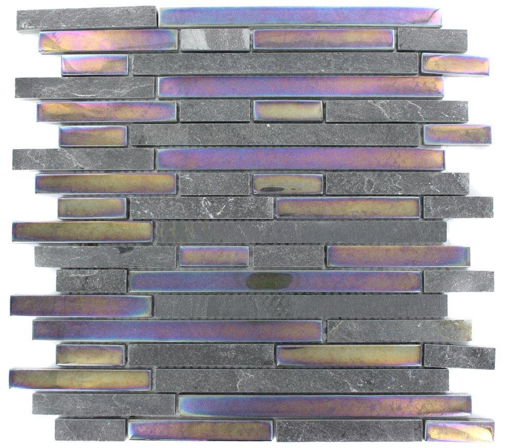 Splashback Tile Tectonic Harmony Green Quartz Slate And: Geological Tao Black Slate & Rainbow Black Glass Tiles $14