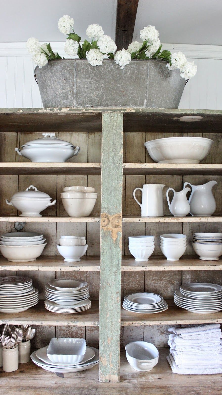 Country decorating ideas flea market style - Cupboard Shelves Filled With Ironstone Home Decor Decorating Ideas