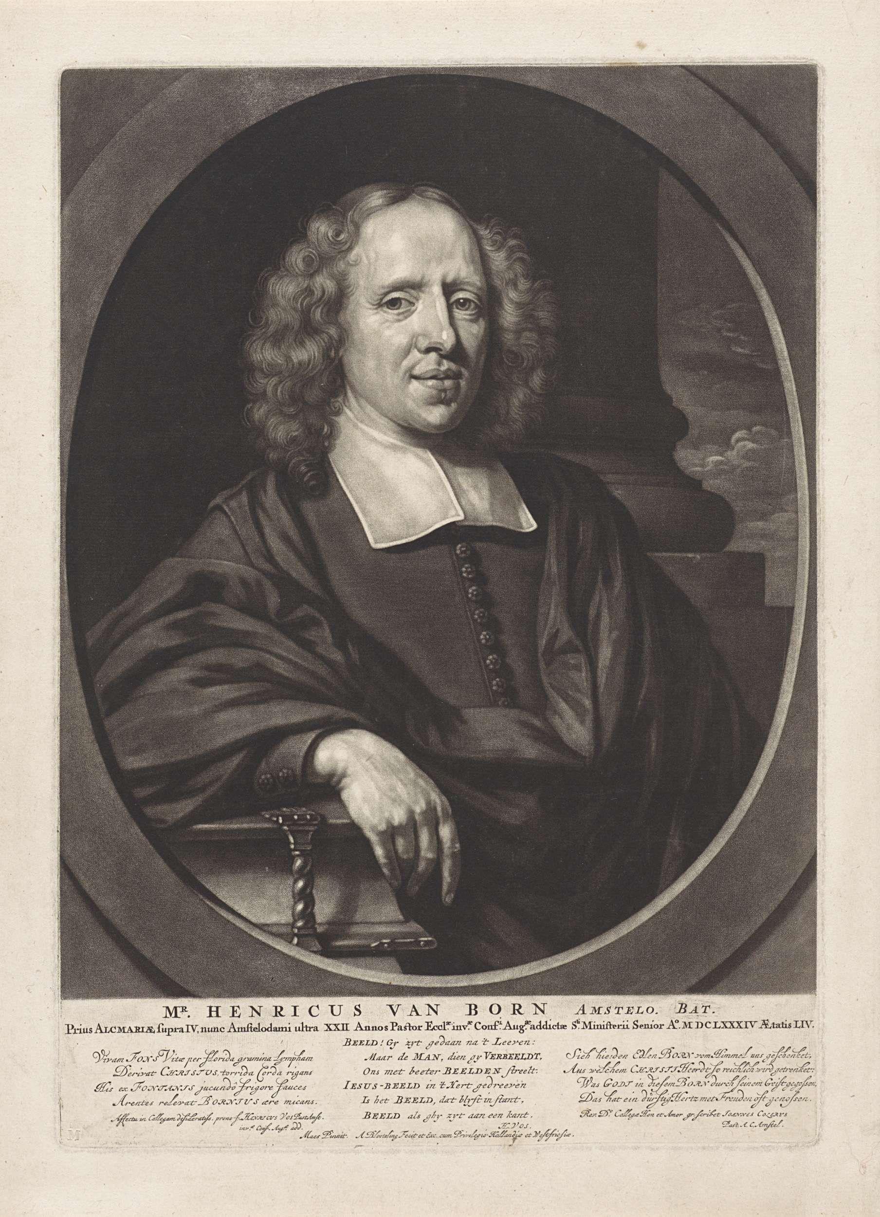 Abraham Bloteling | Portret van Henricus van Born, Abraham Bloteling, 1684 | Portret van Henricus van Born, theoloog te Amsterdam. Zijn arm rust op de bijbel.