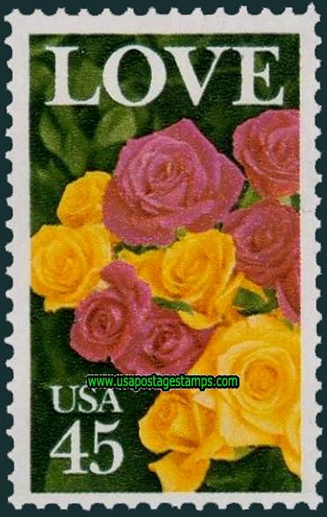 USA 45 Cent Roses Greetings Stamp 1988