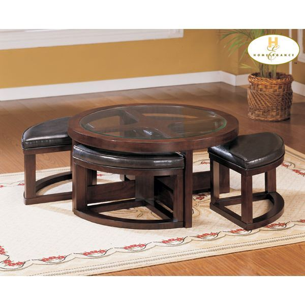Neptune Coffee Table With Storage Ottomans: Round Coffee Table