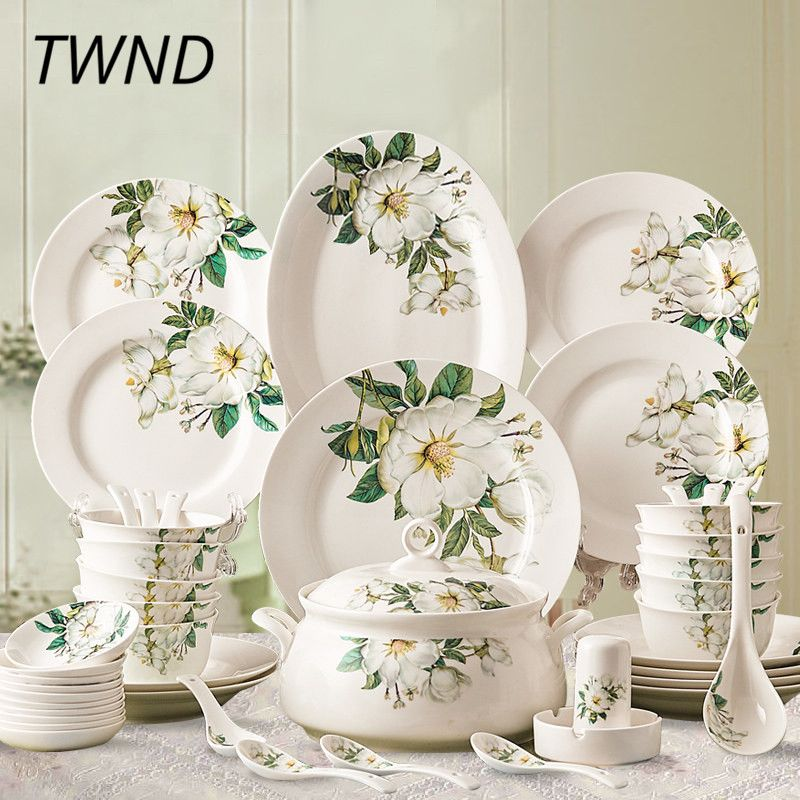 28 Pieces Ceramic Dinner Sets Bowl Dishes Plate Soup Bowls Servies Set Borden Tableware In Dinnerwar Ceramic Dinner Set Ceramic Tableware Bone China Dinnerware