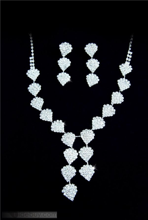 Gorgeous Heart-Shaped Czech Rhinestones Wedding Bridal Jewelry Set