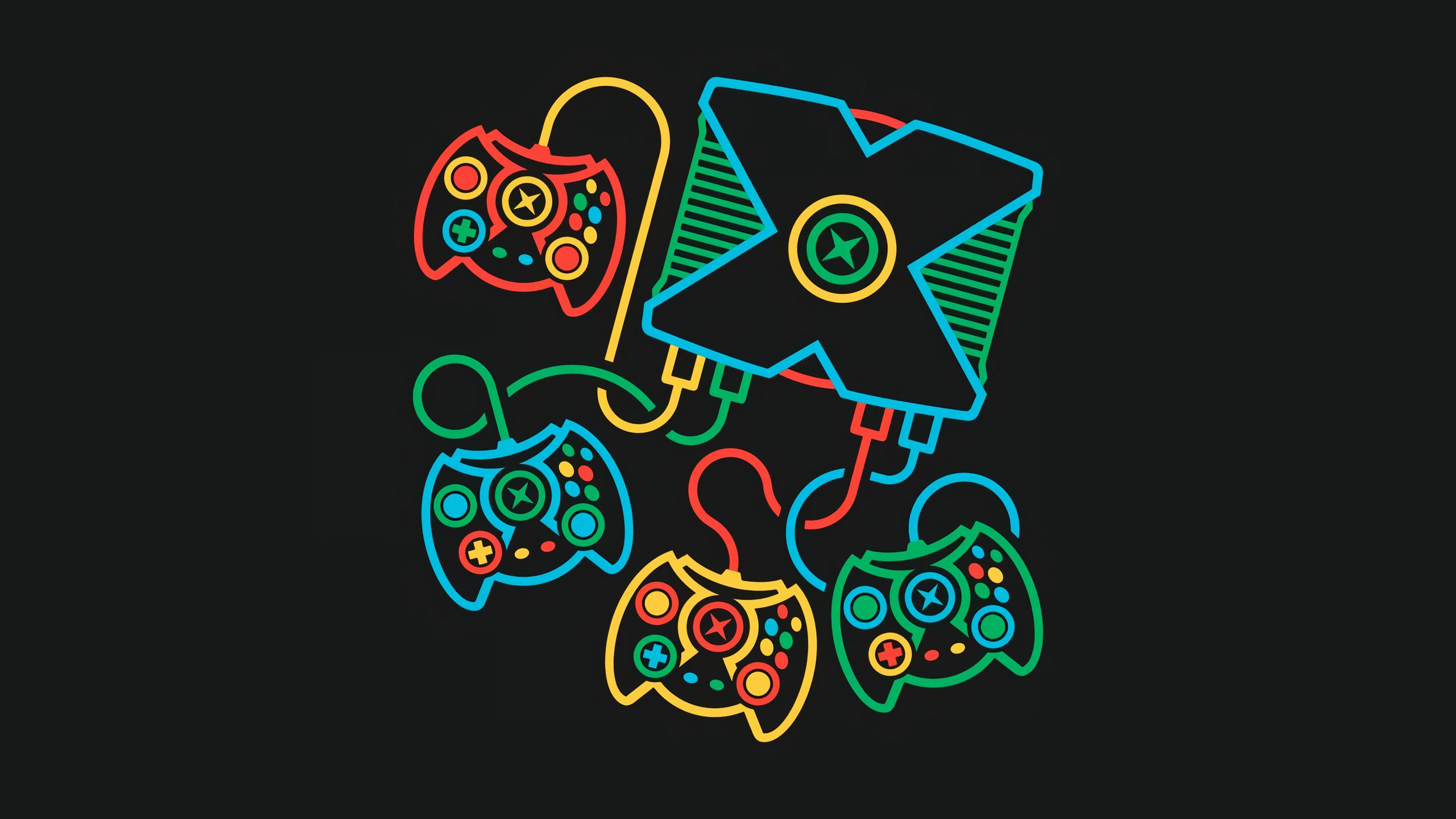 Xbox, retro games, minimalism, black background