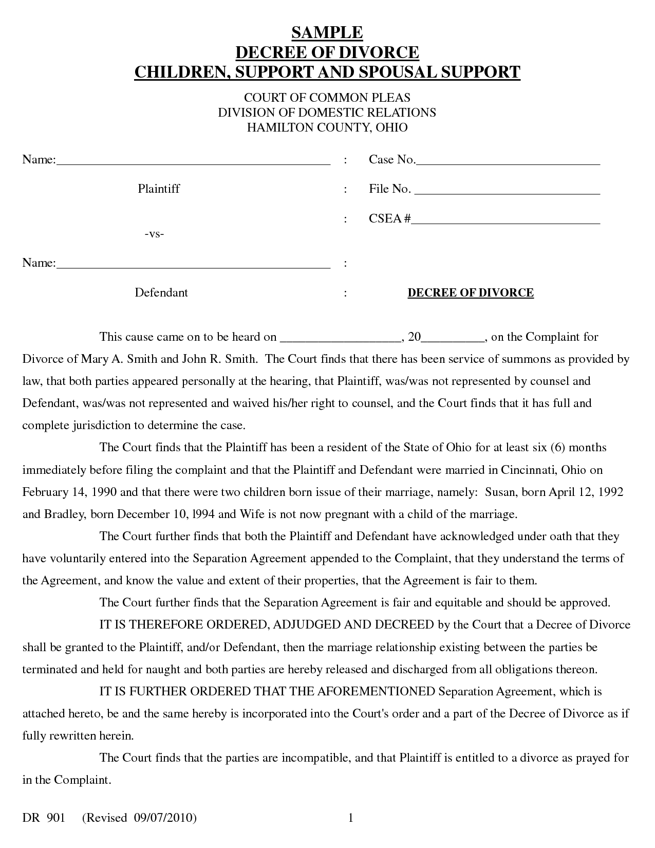 Sample Divorce Decree