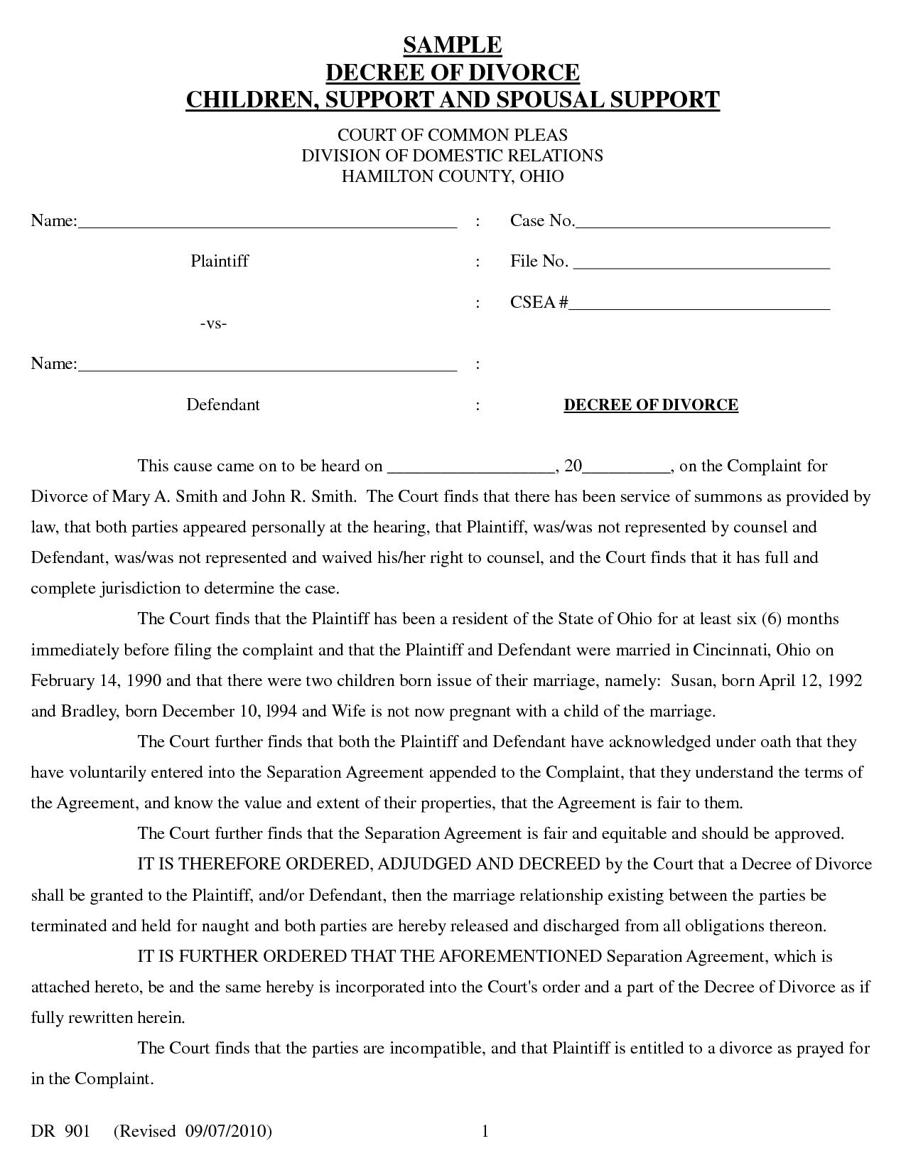 Sample Divorce Decree
