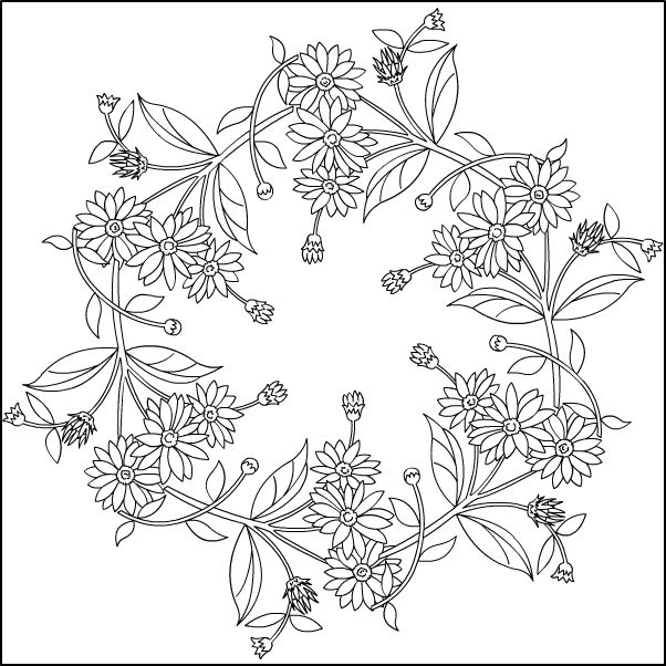 Mandalaheliantus5 Contur Jpg 602 602 Floral Embroidery Patterns Border Embroidery Designs Embroidery Flowers Pattern