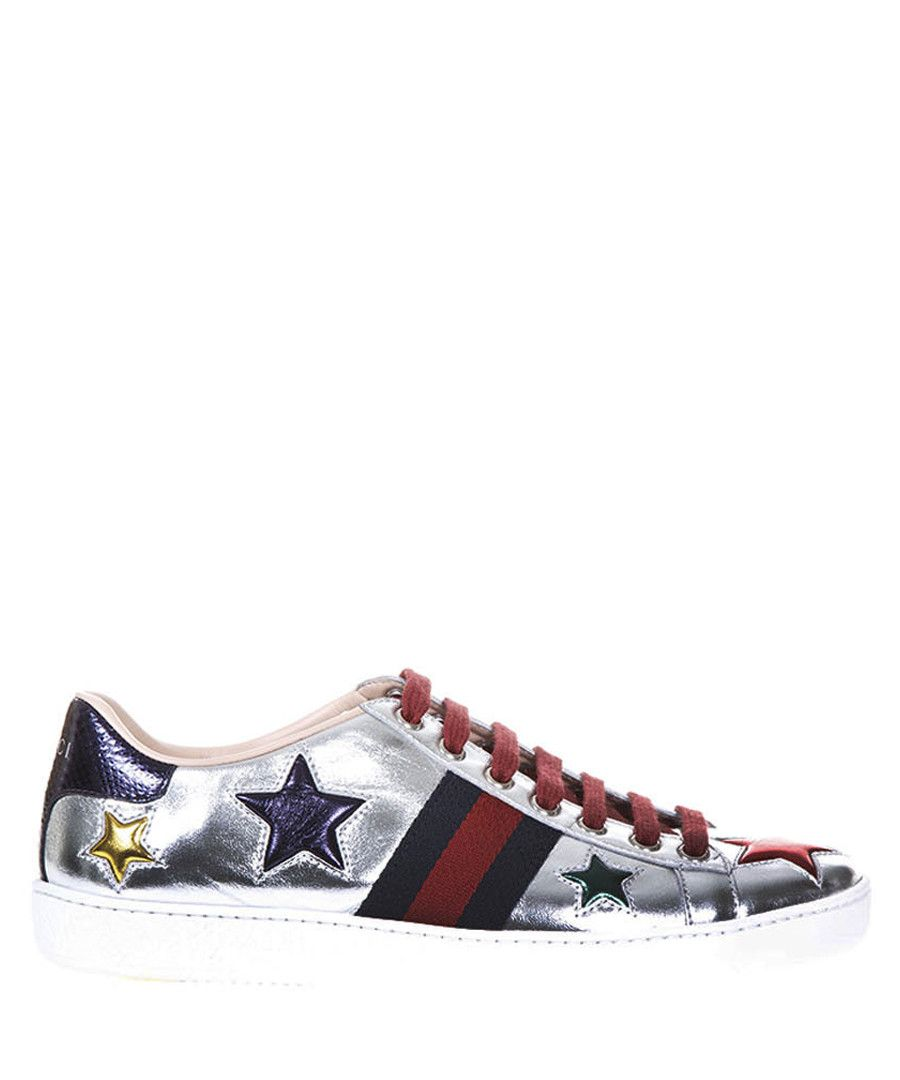 Bassa Ace silver-tone leather sneakers Sale - GUCCI  ec5994b07d