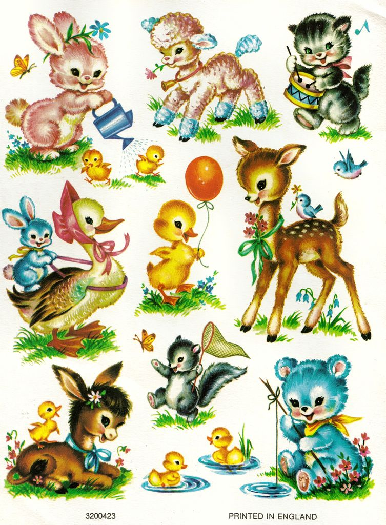 Meyercord Animal Decals Stickers Vintage Cute Baby