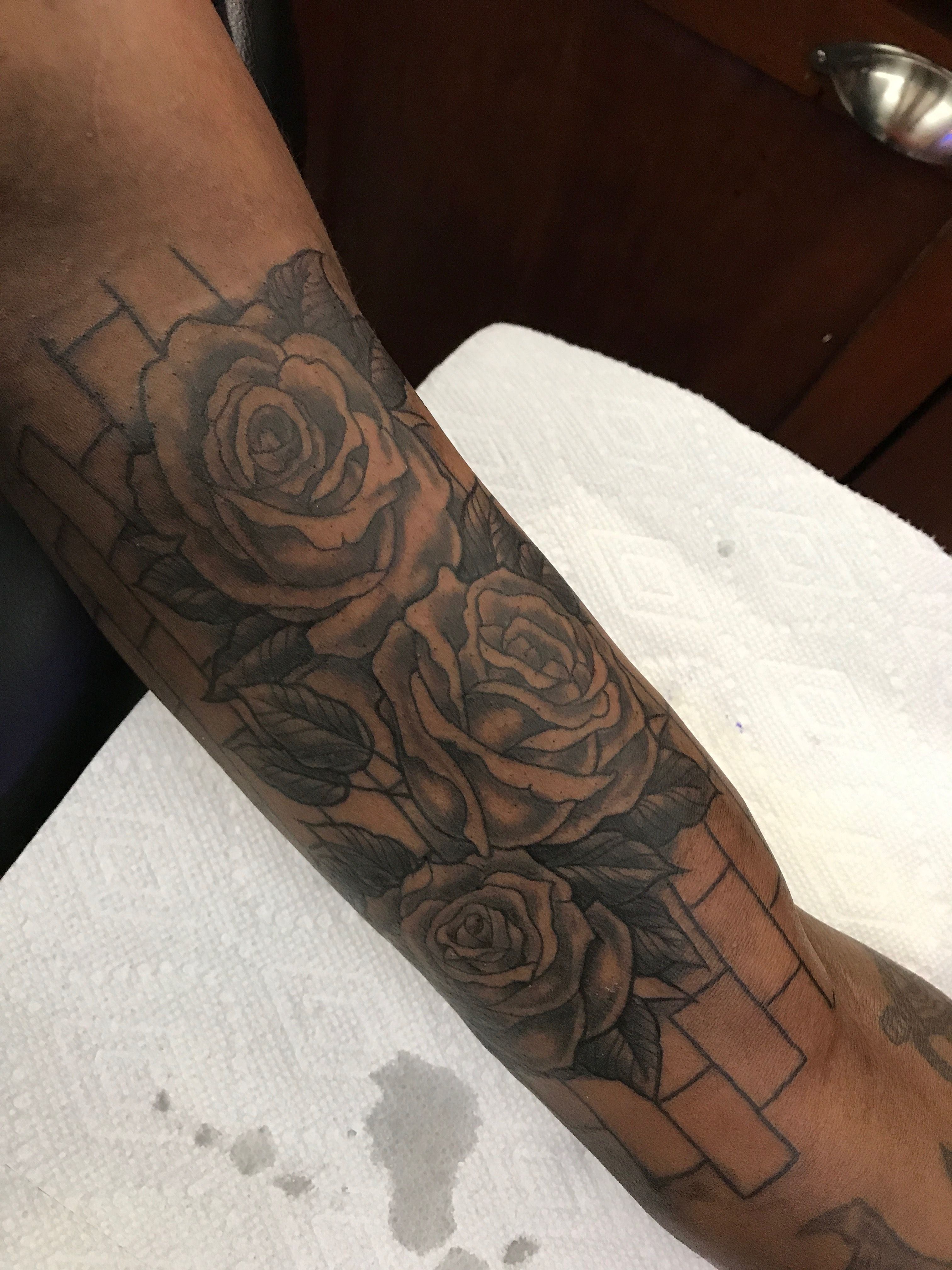 c937b96f7 3 Black Roses with brick wall background tattoo | Heart Rose Tattoo ...