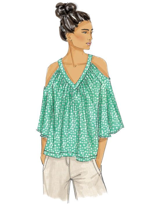 ad61c8735cc Butterick tops sewing pattern with sleeve and neckline variations. B6457  Misses' V-Neck or Scoopneck, Cold-Shoulder Tops