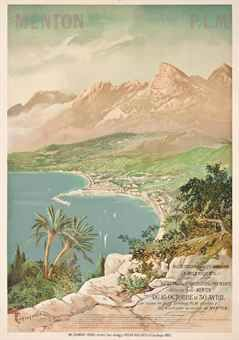 Vintage Travel Poster - MENTON - France - by henri Ganier Tanconville (1846-1936) - Christies.