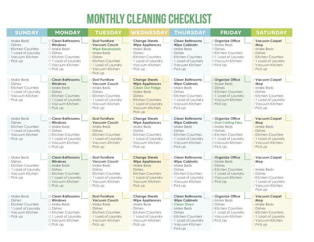 House cleaning checklist in spanish - 7 Of The Best Free Printable Cleaning Schedules