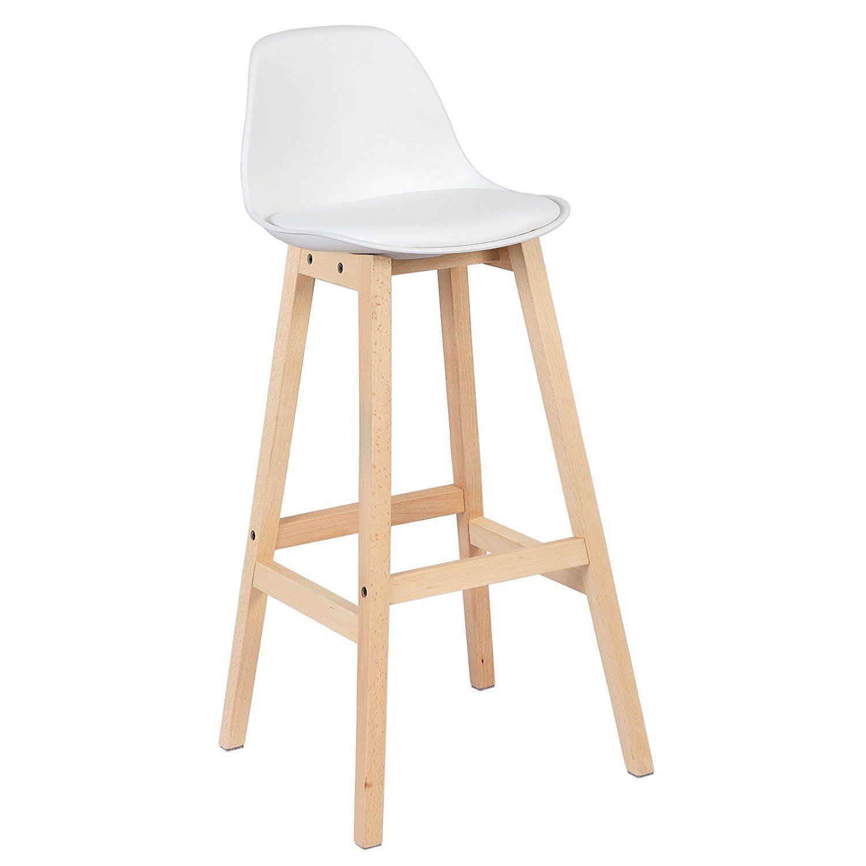 Amazon De Woltu Bh44ws 2 2 X Barhocker 2er Set Barstuhl Aus Kunststoff Holz Mit Lehne Design Stuhl Tabouret Cuisine Tabouret De Bar Tabouret