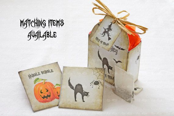 Etsy の Halloween treat bag Digital printable by itsyditsydesigns
