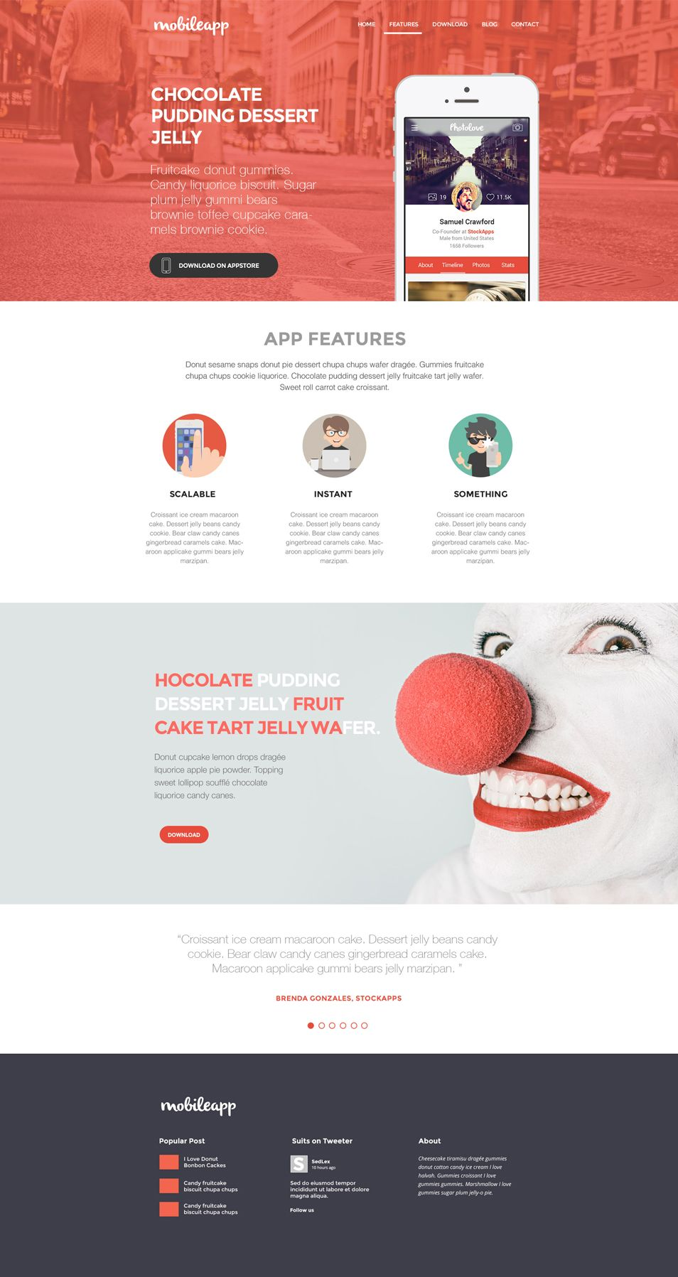 Application Landing Page Template Psd Landing Page Website