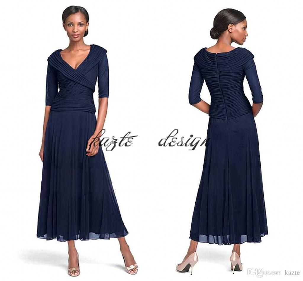 2018 Navy Blue Mother Of Groom Gowns Glamorous Chiffon V Neck