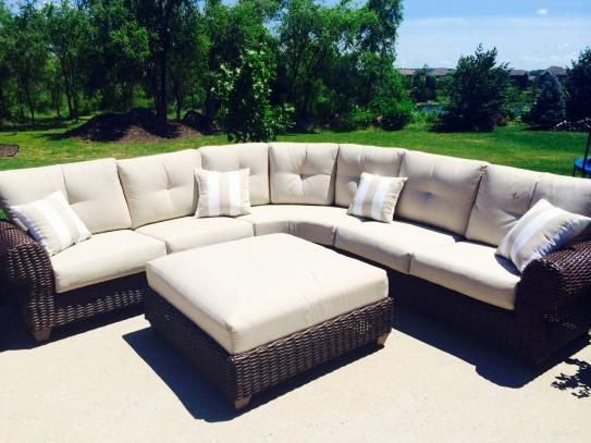 Hampton Bay Mill Valley 4 Piece Patio Sectional Set With Parchment