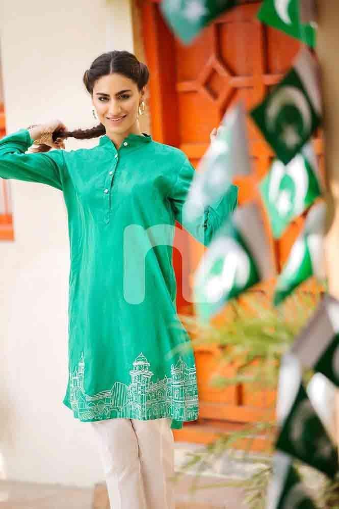 22131d2418 Plain green shirt for Pakistan independence day 14th August dresses for  girls 2017