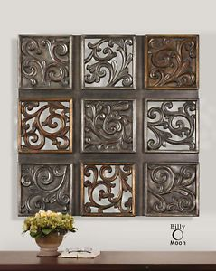 Square Metal Wall Art Details About Large Square Antiqued Silver