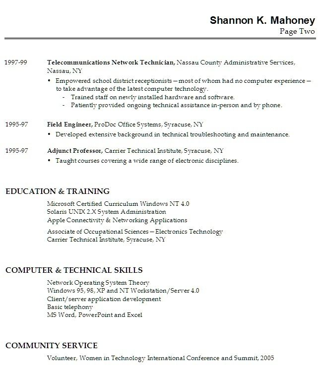 resume examples for highschool students with work experience - technical resume template