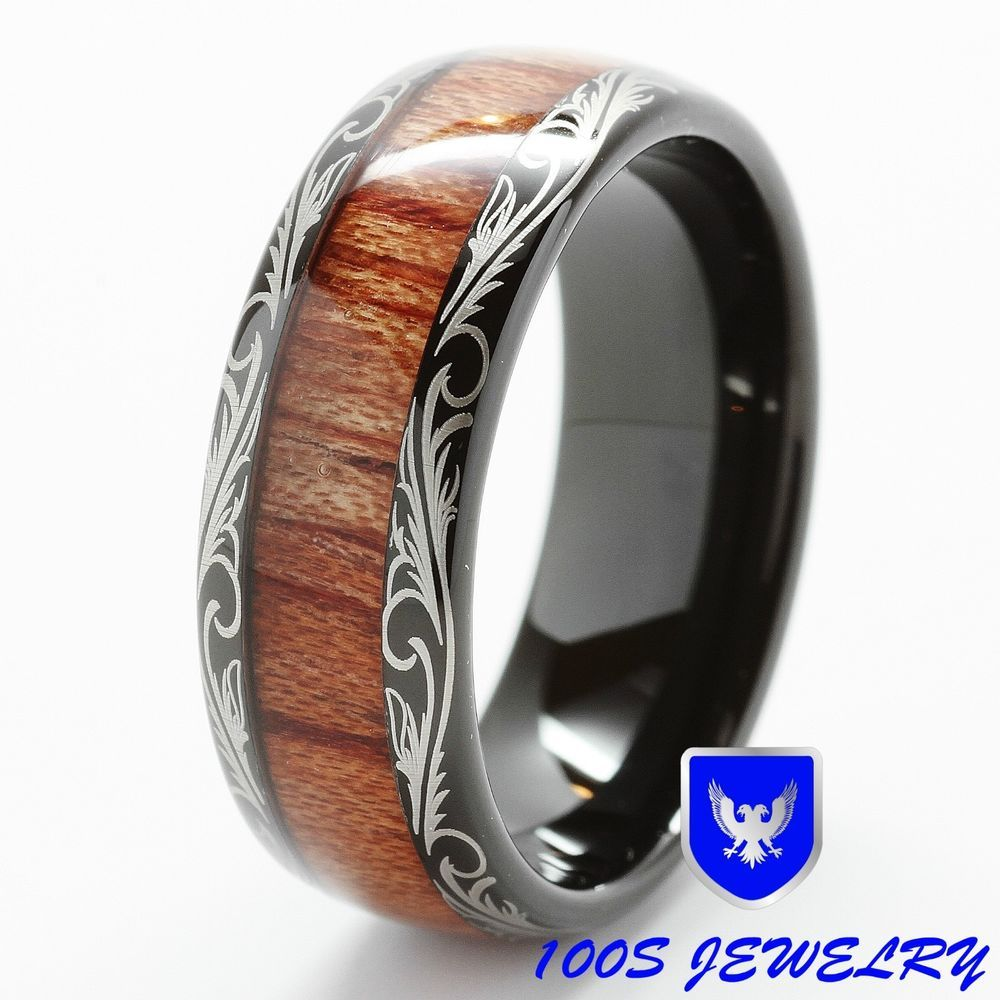 Mens Women Wedding Band Black Tungsten Ring Koa Wood Inlay Comfort Fit Size 6 16
