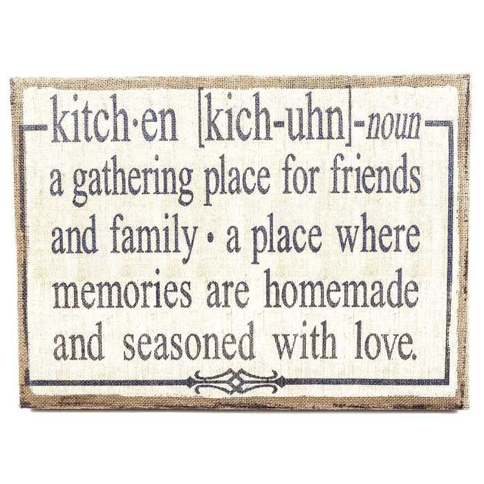 Kitchen Definition Burlap Sign