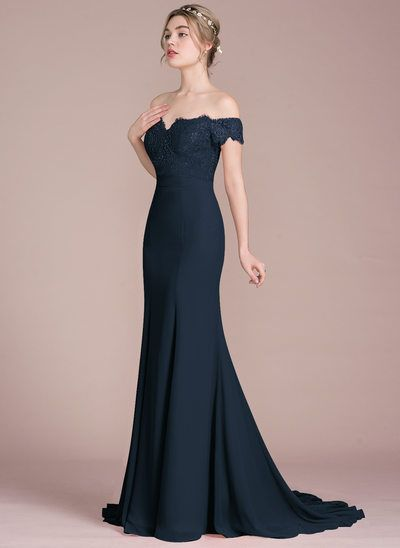 b65e97379737 Trumpet/Mermaid Off-the-Shoulder Court Train Chiffon Lace Bridesmaid Dress  With Beading Sequins