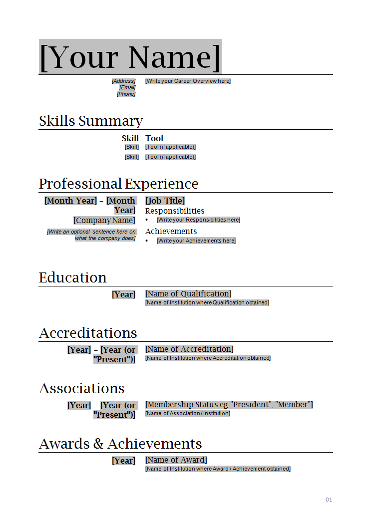 resume outlines for microsoft word