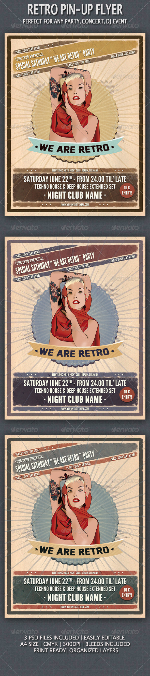 PinUp Vintage Flyer  Dj Party Fonts And Template