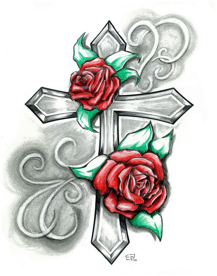 Black and white flower tattoo designs cliparts tatoos for Flower cross tattoo