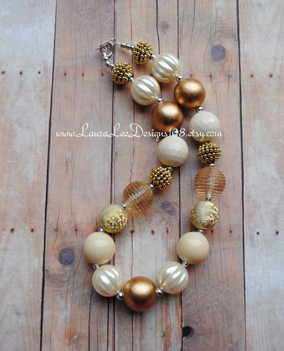 Cream and Gold Holiday Fall Inspired Chunky by LauraLeeDesigns108, $17.99