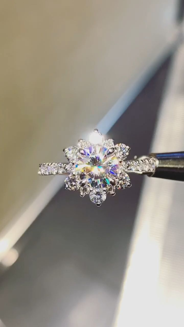 Moissanite and Diamond 14K White Gold Snowflake Ring #accessories