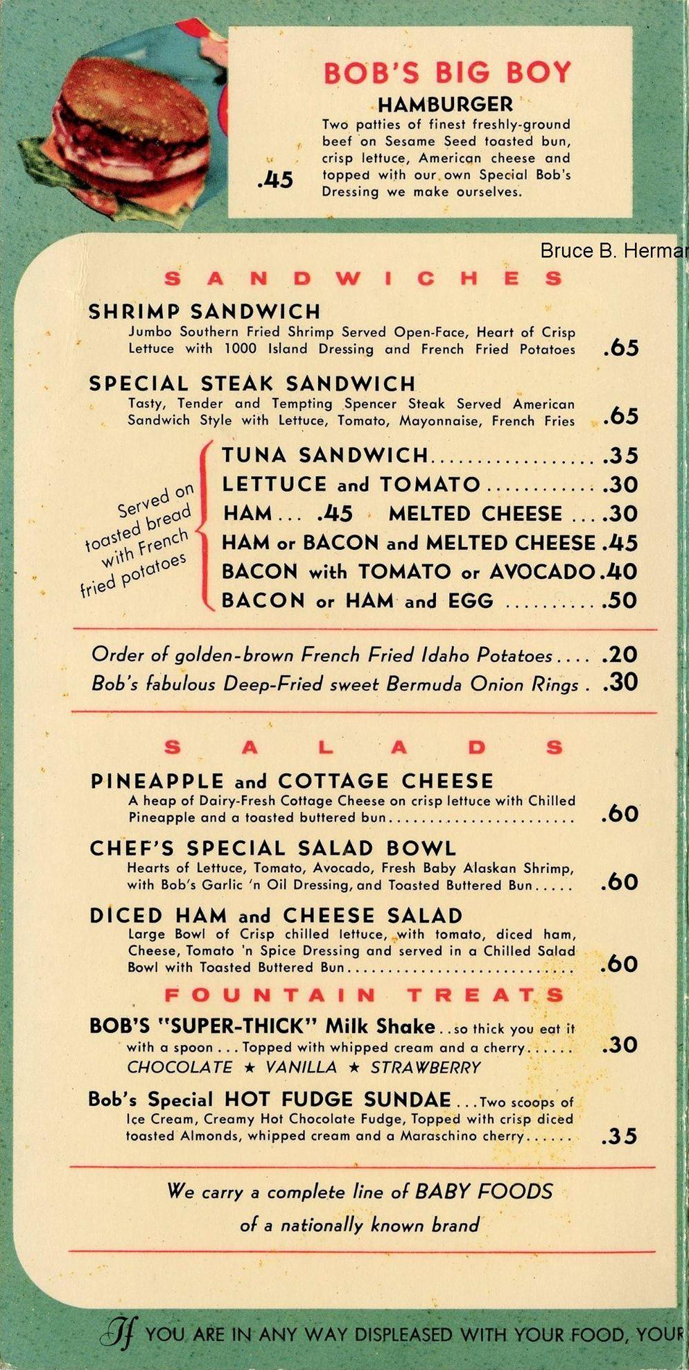 1955 Bob S Big Boy Menu Page 1 Bruce B Hermann Collection Www Bobs Net Diner Menu Vintage Menu Classic Menu