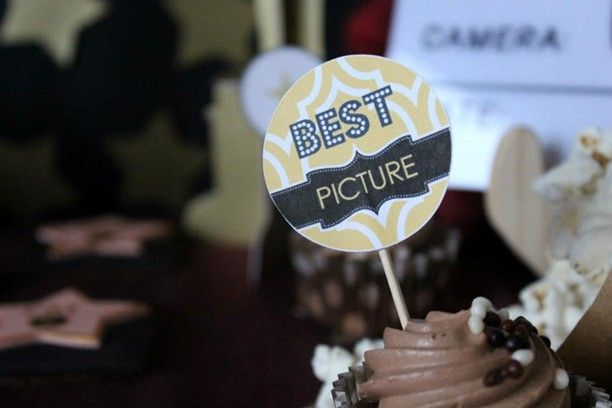 Oscars Party cupcake toppers