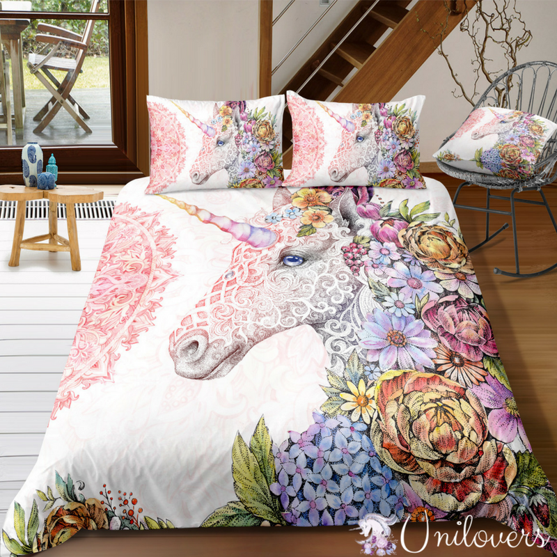 Beautiful Floral Unicorn Bedding Set Unicorn Bed Set