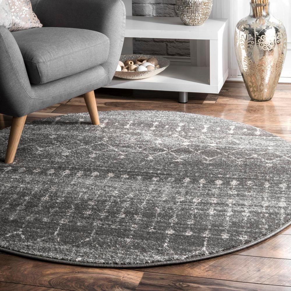 Nuloom Blythe Modern Moroccan Trellis Dark Gray 8 Ft Round Rug