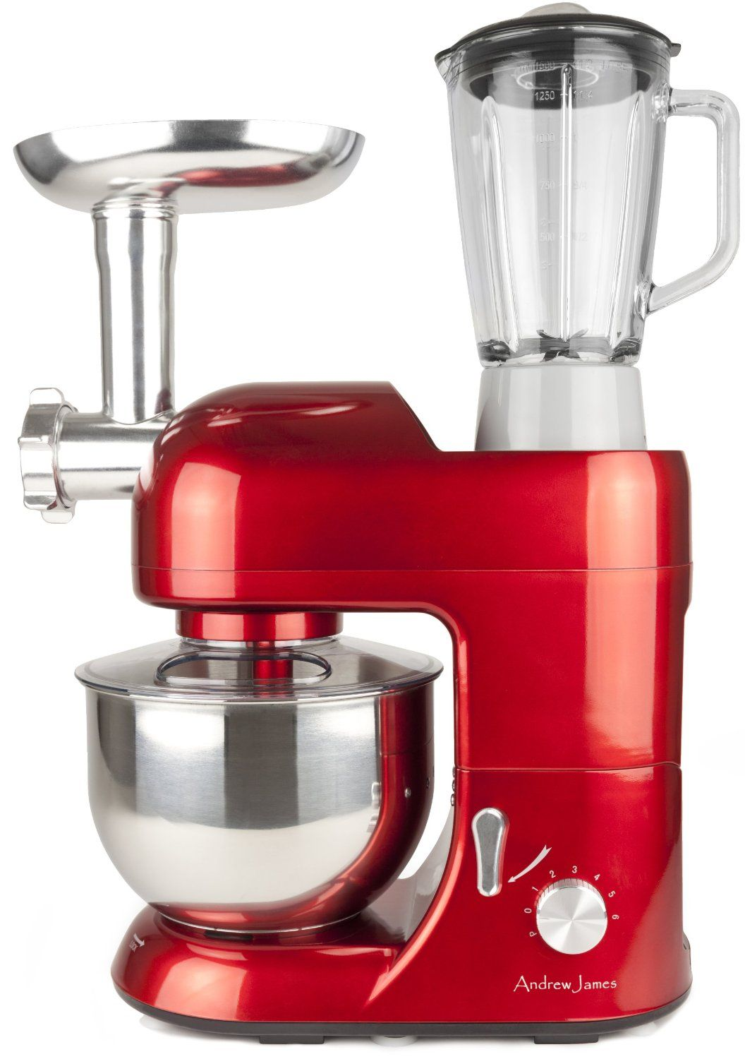 Andrew james multifunctional red 52 food mixer with meat grinder andrew james 1300 watt multifunctional red food mixer with 2 year warranty meat grinder and litre blender attachments recipe book forumfinder Gallery