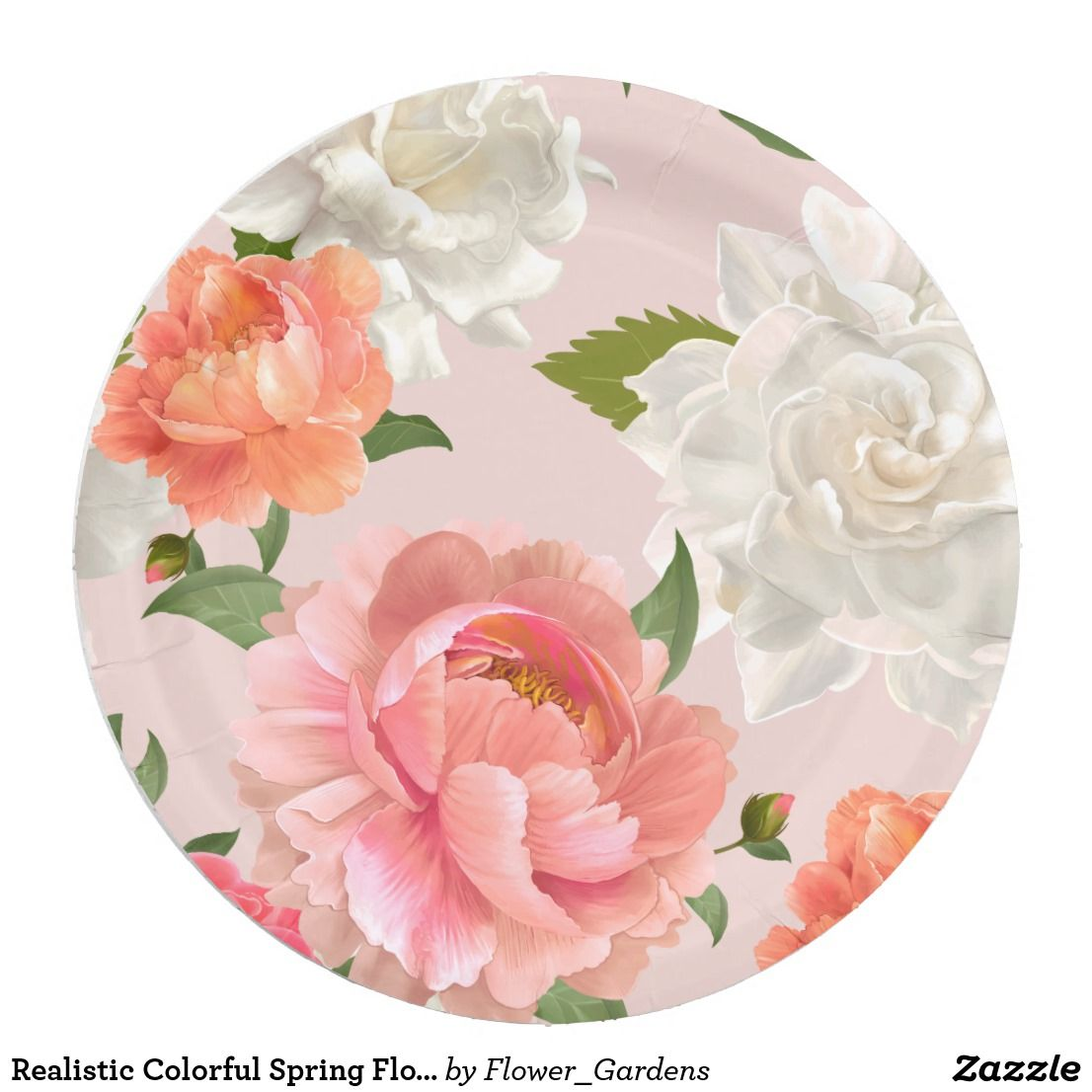 Realistic Colorful Spring Flower Pattern Paper Plate Zazzle Com