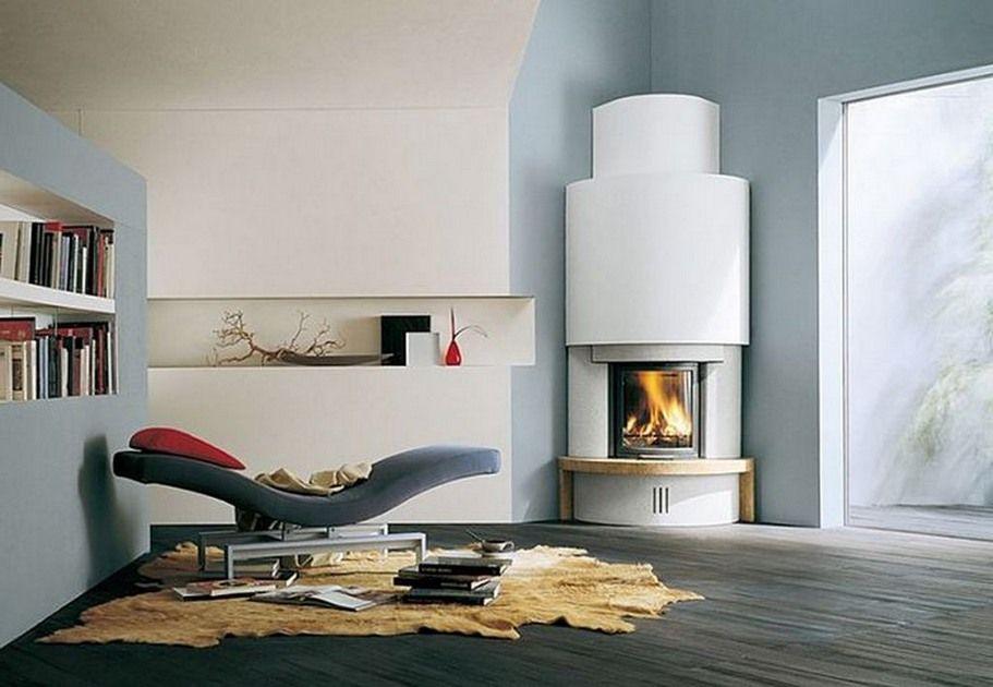 Corner Designs For Living Room Delectable Modern Round Design Idea For Corner Fireplace  My Southwest Adobe Design Decoration