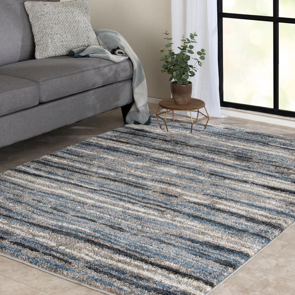 Home Decorators Collection Shoreline Blue Multi 8 Ft X 10 Ft Striped Area Rug 1203ad80hd 101 Blue And Gold Living Room Rugs Home Decorators Collection