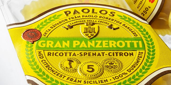 """NINEs latest start-up collaboration project features world champion Paolo Robertos product line of pasta and pasta sauces. """"We are honoured to be a part of the launch of these new great products. Thanks to BillerudKorsnäs and Chesapeake for collaborating with us in creating a new premium packaging solution."""""""