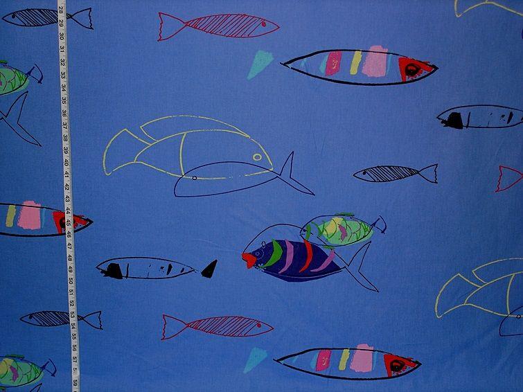 Fish fabric blue ocean retro modern funky from Brick House Fabric: Novelty Fabric