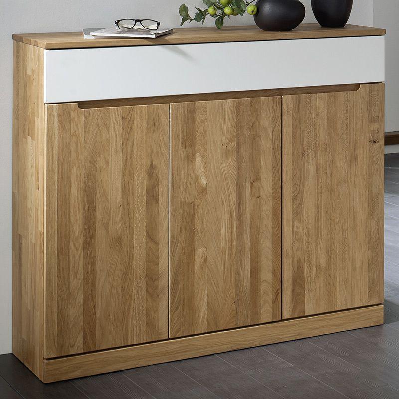 Sideboard RACONA247 Wildeiche massiv, Lack weiß Jetzt bestellen - wohnzimmer wildeiche massiv