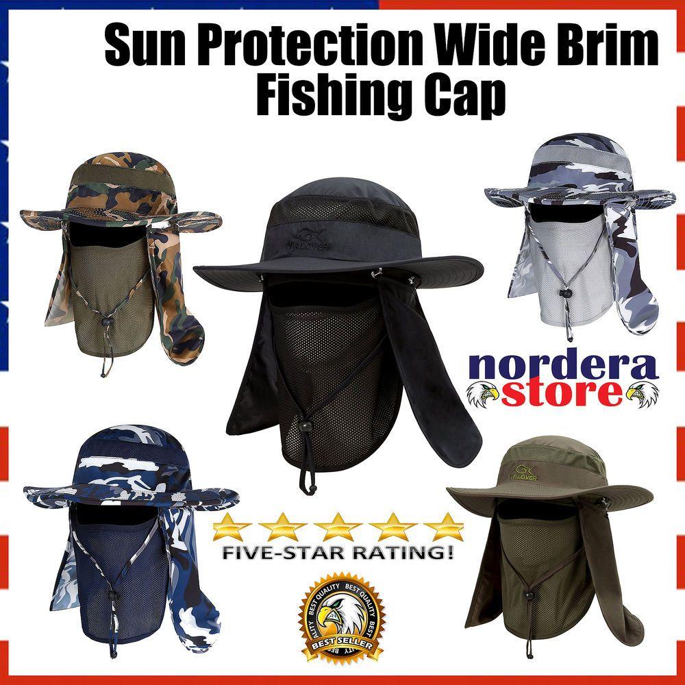 831dddfff9020 Fishing Farmer Wide Brim Cap Neck Face Flap Outdoor Work Sun Protection Hat  Men  YRLover  FaceMask