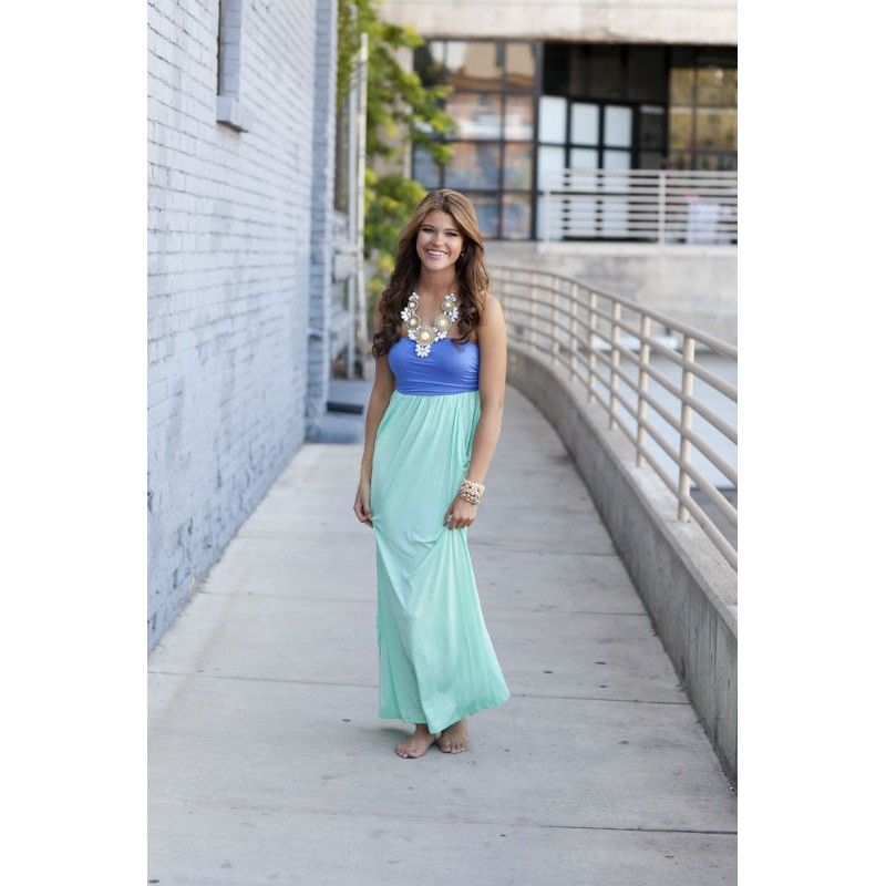 Lavender and Mint Strapless Maxi Dress with Cinched Bust with Two Side  Pockets 94dc2d50d489