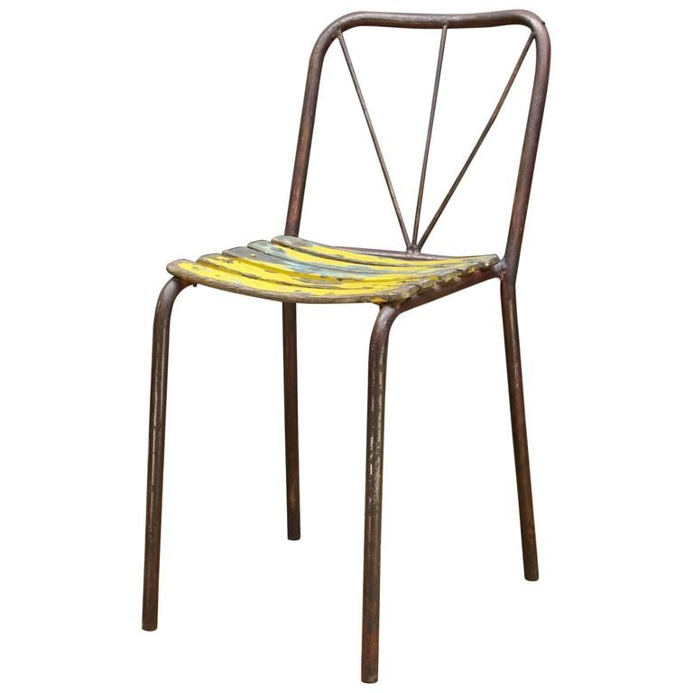 Antique 1920s French Bistro Cafe Or Poolside Chair Vintage Mid Century Poolside Chairs French Bistro Chair