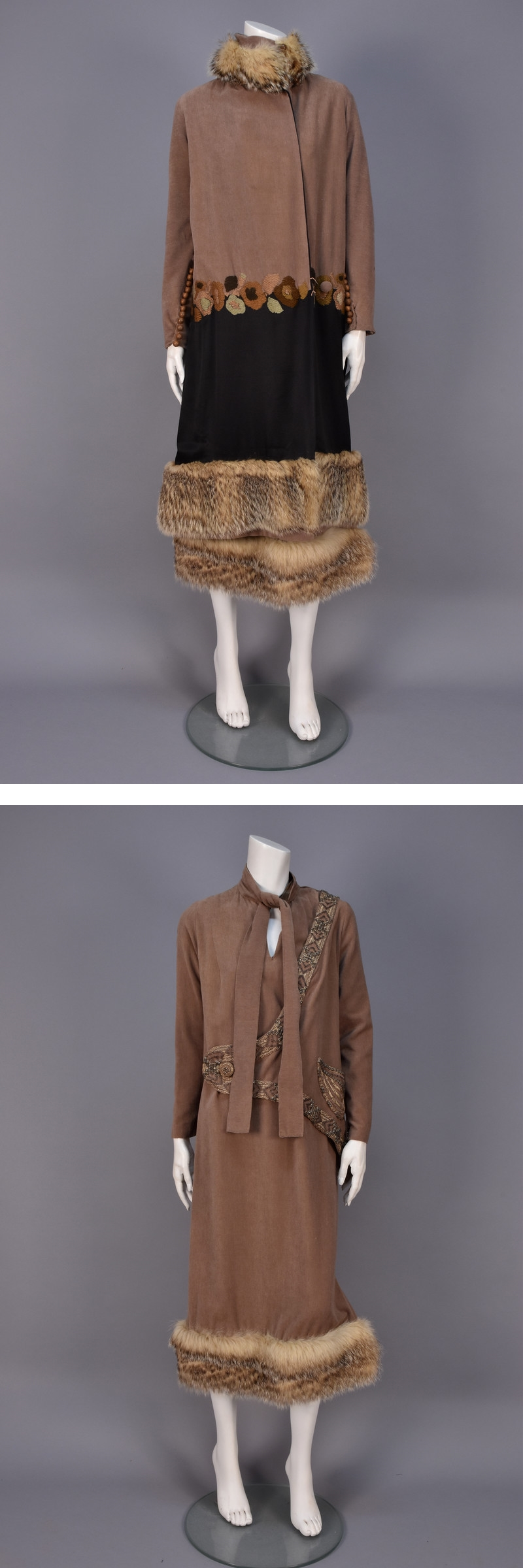 Embroidered Ensemble with Fur Trim, 1918-1919